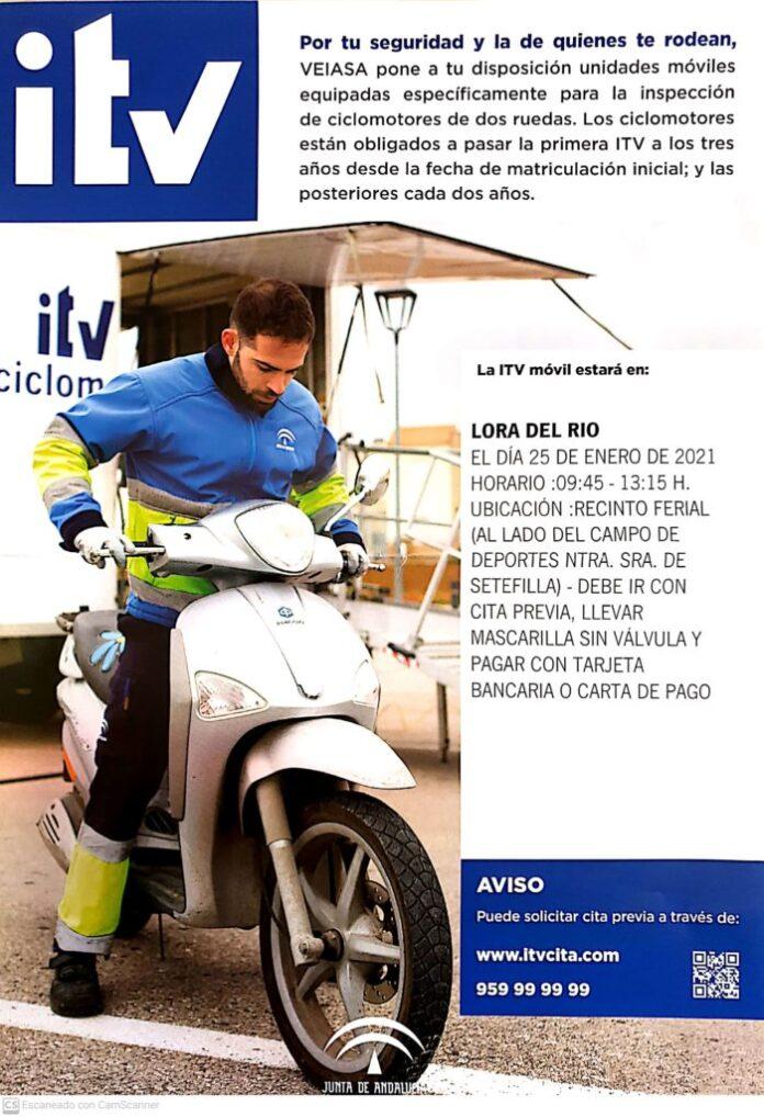 ITV móvil para ciclomotores de dos ruedas estará en Lora del Río el lunes 25 de enero