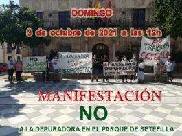 Manifestación contra la instalación de una depuradora de aguas fecales, al lado de las viviendas en Setefilla